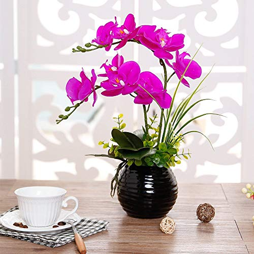 YILIYAJIA Artificial flowers arrangements in vase, Orchid bouquet Bonsai with Ceramics Vase, Fake PU Real Touch Flowers Phalaenopsis Bonsai for Table Office Home Party Decoration (Style 2, Black Vase)