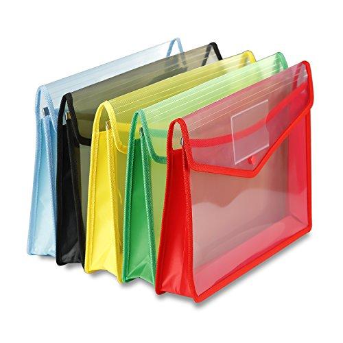 Cartera de plástico, tamaño A4, sobres de plástico con tarjetero, cierre a presión (Pack de 5)