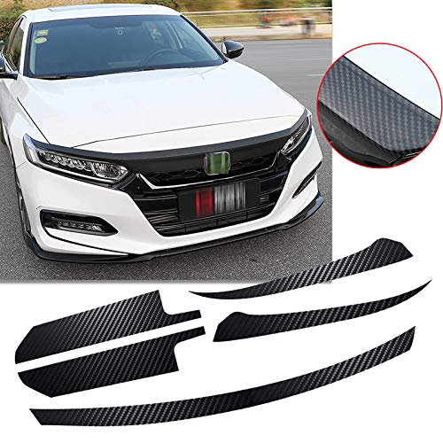 Xotic Tech 5pcs for Honda Accord 2018 2019 Front Hood Grille Sticker Trim, 5D Carbon Fiber Style Grill Molding Decal
