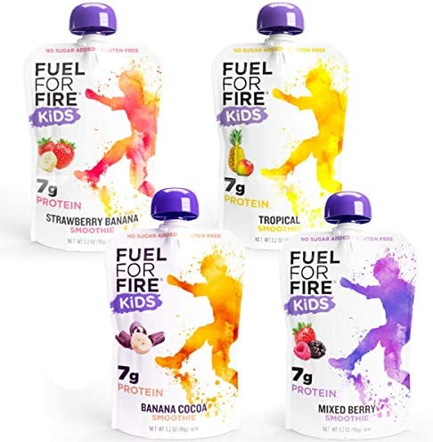 Fuel For Fire KIDS Variety 12 Pack Fruit Protein Smoothie Squeeze Pouch Peanut Free Ready to product image
