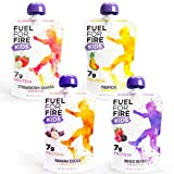FUEL FOR FIRE FOR KIDS: 12-pack of protein smoothie squeeze pouches in four tasty flavors: Tropical, Strawberry Banana, Mixed Berry, and Banana Cocoa. The Fuel For Fire goodness you know and love, now available in smaller 3.2 oz kid-size serving! TAS...