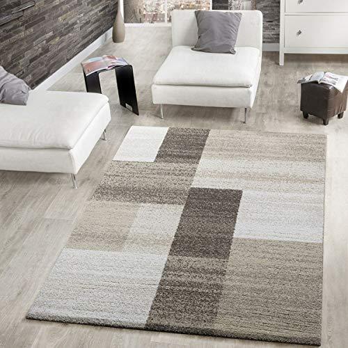 Tappeto moderno a pelo corto, per il soggiorno, motivo: squadrato, rettangolare, in beige, crema, marrone, Polipropilene, 160 x 230 cm