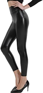 Black Faux Leather Leggings for Women High Waisted...