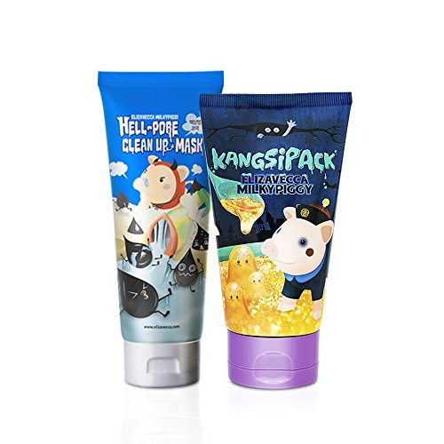 Elizavecca Milky Piggy Hell-Pore Clean Up nose Mask, liquid type nose pack 100Ml + Kangsi Pack Wrinkle care Deep Cleansing 24K Gold Mask