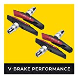 V-Brake Zapatas Freno 2 Par 72mm Asymmetric I para Shimano, Tektro, Avid, Sram, XLC etc I High Wet Braking Performance I Durable & Ajuste V Pastillas de Freno Bicicleta