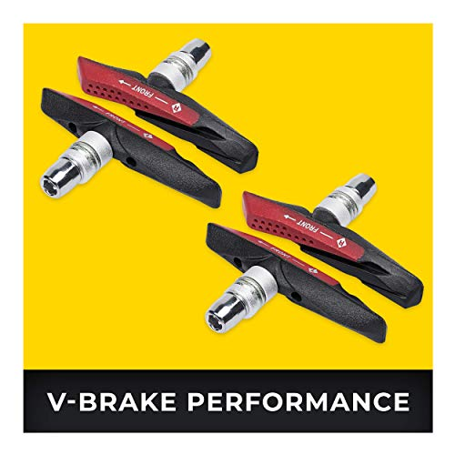 V-Brake Zapatas Freno 2 Par 72mm Asymmetric I para Shimano, Tektro, Avid, Sram, XLC etc I High Wet Braking Performance...