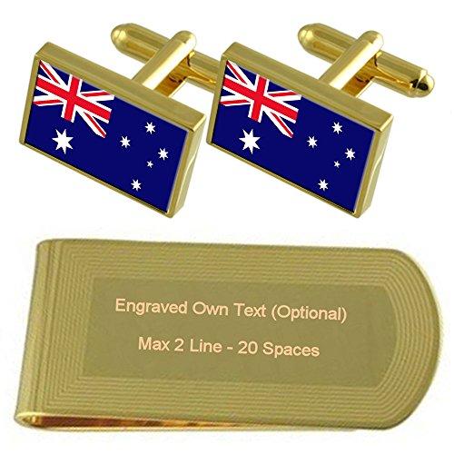 Select Gifts Bandiera dell'Australia Gold-tone gemelli denaro inciso Clip Set regalo