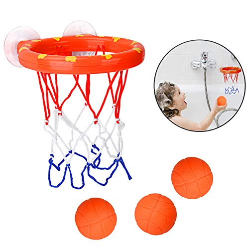 Toddler Bath Toy Basketball Hoop Balls Playset for Boys Girls Kids, Bathtub Basketball Hoop Slam Dunk and Bathtub Shooting Game, With 3 Balls and Suction Cup