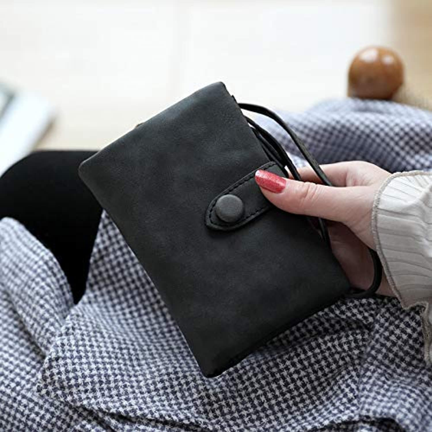 Women's Wallet Female New Student Korean Version of The Small Fresh MultiFunction Folding Coin Card Clutch Bag (color   Army Green) Ladies Purses (color   Black)