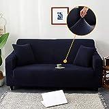 Color Sólido Jacquard La Funda Para Sofa,Antideslizante Elástica Mueble Protector,Elásticaidad Ofa Fundas Antideslizantes En Forma De L Protector De Sofá Para Mascotas-Azul marino 4-seater 235-300cm