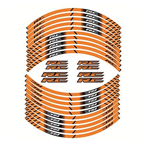 bazutiwns Pegatinas de Rueda Interna de la Motocicleta Rim Decoración Reflectante calcomanías compatibles con KTM RC 390 125 200 HSLL (Color : 1)