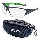 UVEX Schutzbrille i-works 9194175 anthrazit/grün mit UV-Schutz im Set inkl. Brillenetui - leichte und sportliche Sicherheitsbrille, Arbeitsschutzbrille