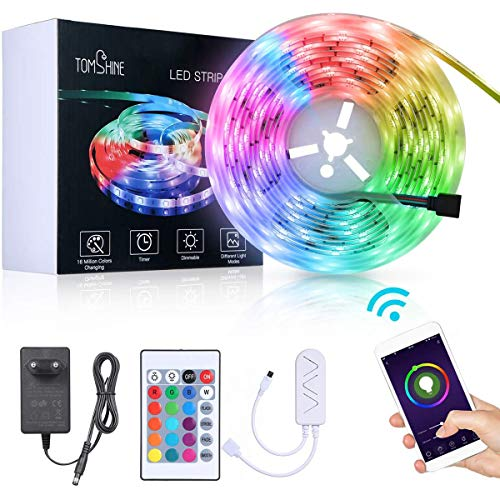 5M WiFi Tiras LED RGB Inteligente,Tomshine 150 LEDs Tiras LED de Luces,Compatible con Alexa y Google Home,Sync con Música,Impermeable IP65,Adaptador 12V,Luces Led Decoracion para el Hogar,Fiestas