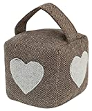 FiNeWaY Fabric Cube Door Stop - Decorative Doorstop Stopper with Handle – Ideal for Home Bedroom Kids Play Living Room Office with Handle (Brown - Heart Print)
