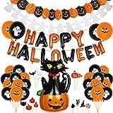 Bluelves Halloween Decorazioni Kit, Decorazioni Halloween Casa,Halloween Zucca Gatto Palloncini, Festone Happy Halloween, Ghirlande di Zucche e Fantasmi per Decorazione di Feste