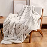 Cozy Bliss Luxury Super Soft Striped Faux Fur Throw Blanket for Couch, 50'x60' Beige, Warm Milky Plush Blanket for Sofa Bed Living Room Bedroom (Stripe-Beige)