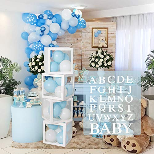 Baby Shower Decoration Balloon Boxes – 4Pcs DIY White Transparent Boxes with 30 Letters BABY + A-Z for Boys Girls Baby Shower,DIY Name Combination,Gender Reveal Backdrop Birthday Party Supplies