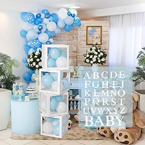 Boîtes à ballons de décoration de douche de bébé - 4Pcs DIY Boîtes transparentes blanches avec 30 lettres BÉBÉ + A-Z pour garçons et filles