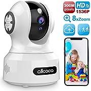 IP Kamera 3MP Überwachungskamera Innen WLAN 1536P HD Home Baby Monitor, Babyphone mit Intelligent Bewegungserkennung Nachtsicht 2-Wege-Audio Unterstützt Fernalarm und PTZ Mobile App Kontrolle