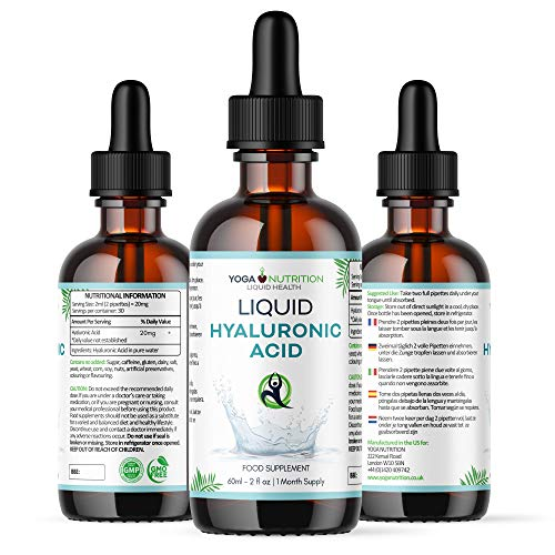 Liquid Hyaluronic Acid Sublingual Drops - 60 ml - Flavourless in Pure Water - May Aid Cellular Renewal and Smooth Premature Wrinkles - by Yoga Nutrition