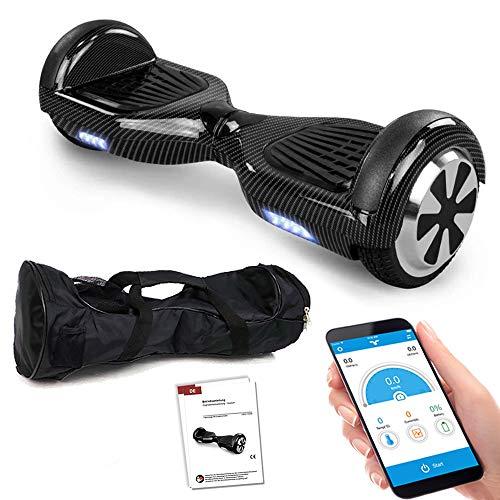 Balance Scooter 6,5 Zoll 600W-Motion V.5 mit App Funktion, Bluetooth Lautsprecher, Kinder Sicherheitsmodus, Elektro Self Balance E-Scooter, 600 Watt (Carbon)