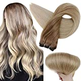 Full Shine 16 Inch Remy Straight Weave Hair Bundles Color 10 fading To 14 Dark Golden Blonde Balayage Human Hair Sew In Extensions 100 Grams Weft Natural Hair Bundles