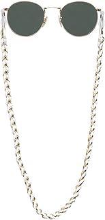 Sintillia Boho Braid Sunglass Strap, Glasses Chain, Eyeglass Cord, White with Clear Attachments