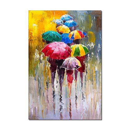 Ölgemälde Auf Leinwand 100% Handgemalt,Moderne Abstrakte Menschen Mit Bunten Regenschirmen Muster,Wandbild-Unikat | Großes Acrylbild Für Wohnzimmer, Heimdekoration, Poster Kunstwerk, Heimgeschenke