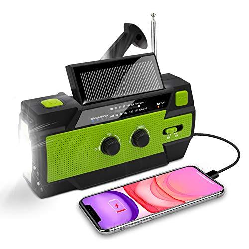 Nigecue Solar Radio, Tragbar Kurbelradio Dynamo Radio mit AM/FM, Eingebaute 4000mAh Wiederaufladbare Batterie, 4 Modi LED Taschenlampe, LED Leselampe mit Bewegungssensor, SOS-Alarm für Notfall Ourdoor