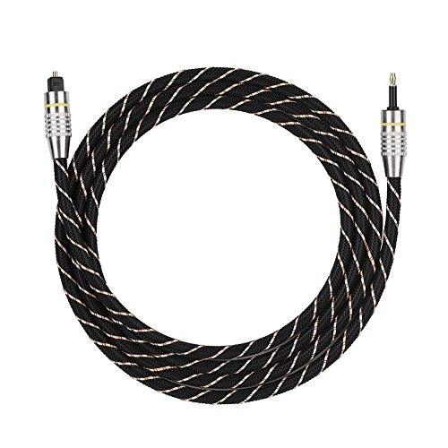 Mavis Laven Cable Toslink Toslink a Mini Plug Cable de Audio Digital de Fibra óptica de 3.5mm SPDIF Chapado en Oro Conector Redondo(1.5M)