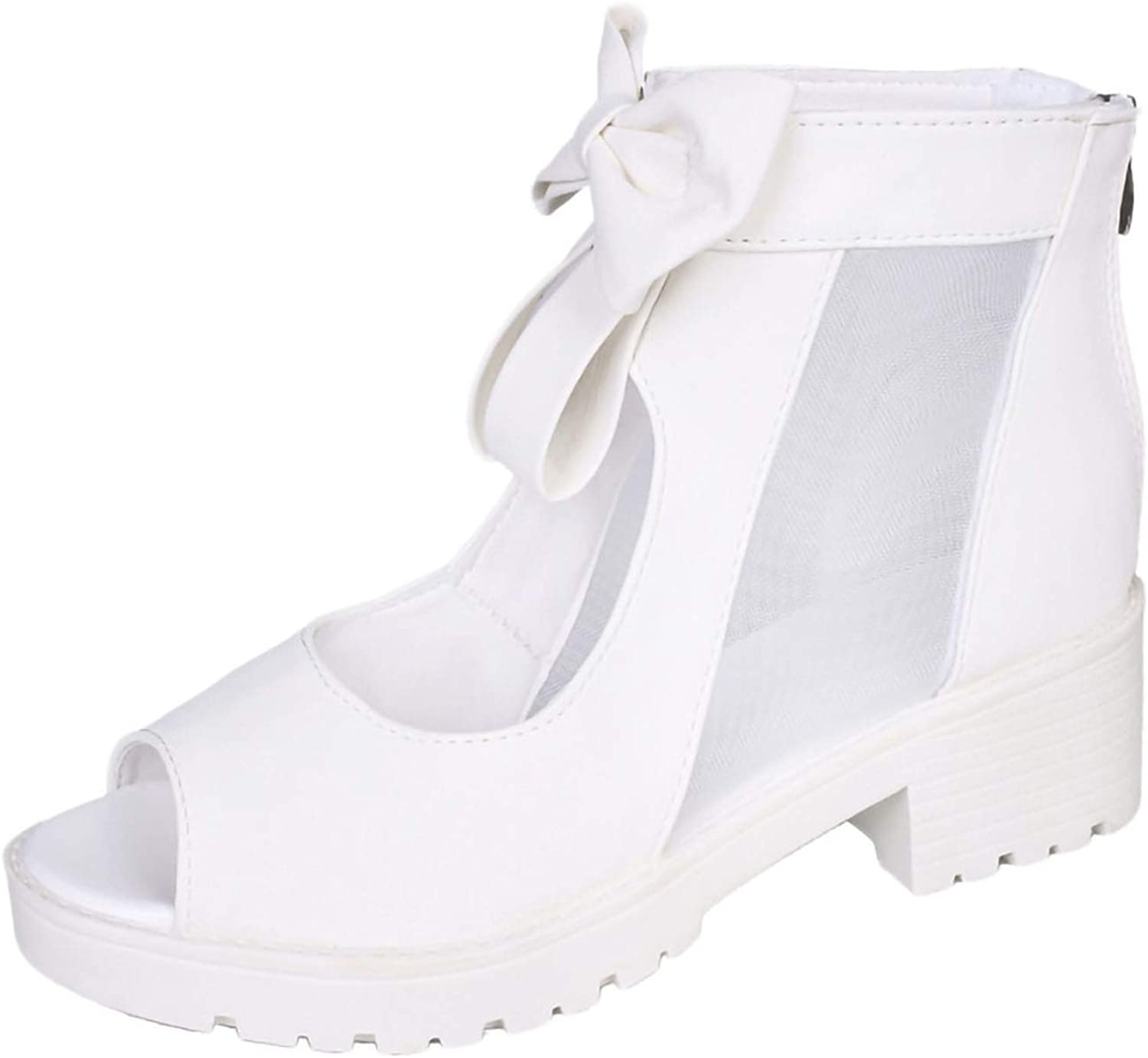 Heels White Summer Women High Heels Breathable Sandals Fashion Solid Bow Zipper shoes