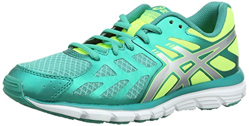 Asics Gel-Zaraca 3, Scarpe sportive, Donna, Colore Verde (Emerald Green/Silver/Flash Yellow), Taglia 39 EU (5.5 UK)