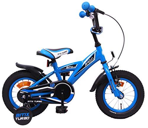 Amigo BMX Turbo - Vélo Enfant pour garçons - 12 Pouces - avec Frein à Main, Frein à rétropédalage, Sonnette de vélo et stabilisateurs vélo - à partir de 3-4 Ans - Bleu