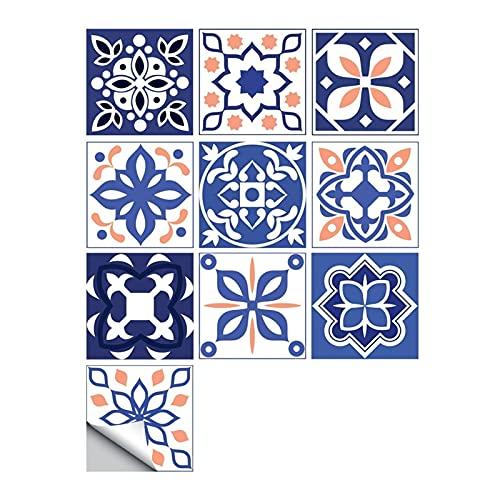 ESORST 10 unids/Set Ornamento Floral Piso de la Pared Pegatina de la Pared Cocina Cerámica Cerámica Calcomanías de la Pared Impermeable Crystal Tile Art Mural (Color : S, Size : 20cmX20cmX10pcs)