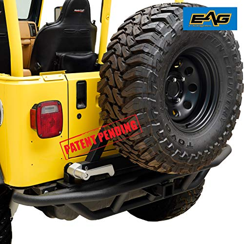 EAG Tubular Rear Bumper with Tire Carrier Black Fit for 87-06 Jeep Wrangler TJ YJ