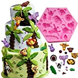 Fewo Forest Animals Fondant Cake Decorating Molds Zoo Animals Silicone Mold for Chocolate Candy Gum Paste Clay Sugar Craft Cupcake Topper Supplies (Elephant Lion Giraffe Monkey Zebra Hippo)