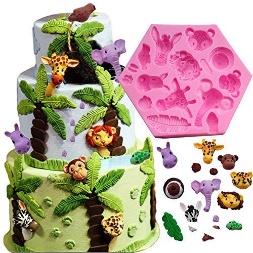Fewo Forsttiere Fondant Kuchen Dekorieren Formen Zoo Tiere Silikon Form für Schokolade Süßigkeiten Kaugummi Ton Zucker Craft Cupcake Topper Supplies Supplies (Elefant Löwe Giraffe Affe Zebra Hippo)