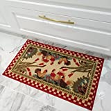 Kitchen Rugs and Mats - 20' x 59' (2X5) - Non Skid, Rubber Back - Rooster Themed - Small Runner
