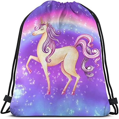 Beabes Watercolor Unicorn Drawstring Bags Backpack Bag Horse Cartoon Animal Fairy Tale Pink Purple Hair Hand Paint Sport Gym Sack Drawstring Bag String Bag Yoga Bag for Men Women Boys Girls