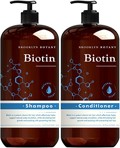 Brooklyn Botany Biotin Shampoo and Conditioner for Hair Growth and Volume – Anti Dandruff - Volumizing and Nourishing Hair Thickening Shampoo and Conditioner Set for Hair Loss and Thinning Hair- 16 Oz