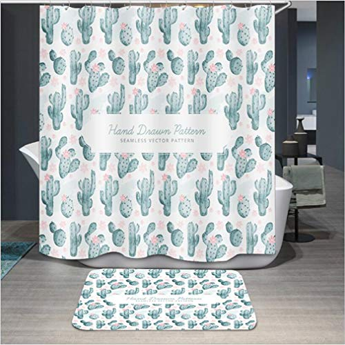 Baisheng Waterproof Mold Proof Resistant Bad Vorhang Waschbar Duschvorhang Polyester Stoff 3D Mehltau Beweis Vorhang mit Haken (Rosa Pfirsichblüte 2-39 * 70Inch/100 * 180cm)