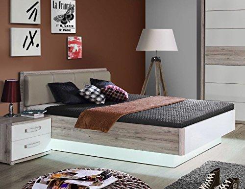DEINE TANTE EMMA RDNL242-T30 Rondino 140 x 200 Sandeiche Nb. / weiß Bett Jugendbett Gästebett Einzelbett Doppelbett