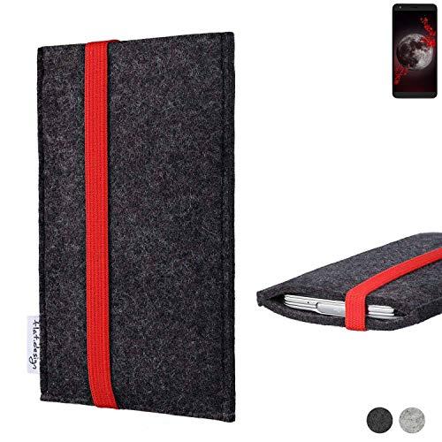 flat.design Handy Tasche Coimbra für Sharp Aquos B10 passexakt Filz Schutz Hülle Hülle anthrazit rot fair