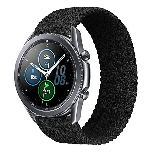 iBazal 20mm Correas Galaxy Watch Active2 Pulsera 40mm 44mm Nylon Banda Trenzada Lazo Individual Repuesto para Samsung Galaxy Watch 3 41mm/Galaxy Watch 42mm, Active 40 mm, Gear S2 Classic - M Negro