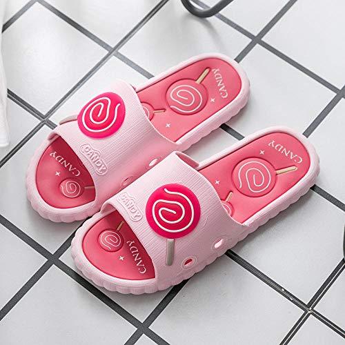 B/H Sandalias de Piso Casuales Antideslizantes,Zapatillas de Plataforma Interiores Antideslizantes, Sandalias de baño para masajes en el baño-Pink_40-41,Zapatillas de Estilo para el hogar