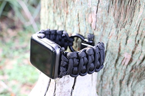 Savior Survival Gear Apple Watch Band 42mm Replacement Made of 550 Paracord with Stainless Steel Adjustable Shackle
