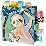 Taggies Touch & Feel Soft Cloth Book with Crinkle Paper & Squeaker, Molasses Sloth