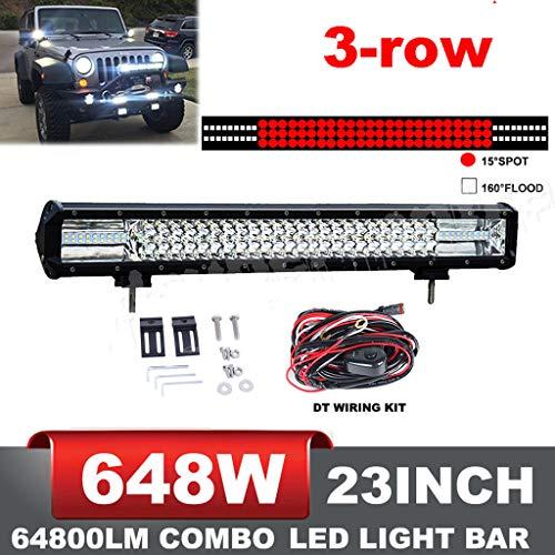 RUILITECH 108x6W Barre Lumineuse LED Faisceau Combo Travail 23 pouces 12v 24v 3-Rangées 648W IP68 pour Véhicule Tout-terrain 4WD 4x4 étanche avec + Kit de Câblage