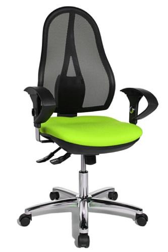 Topstar Open Point SY Deluxe, ergonomischer Syncro-Bandscheiben-Drehstuhl, Bürostuhl, Schreibtischstuhl, inkl. Armlehnen (höhenverstellbar), Stoff, apfelgrün