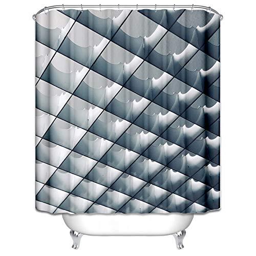 Aienid Badewannenvorhang Antischimmel Gitter Blau Grau Wasserdicht Duschvorhang Size:165X200CM